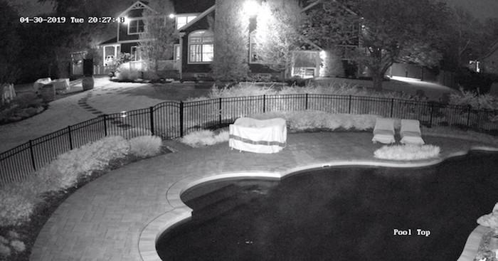 تصویر دوربین مدار بسته دید در شب در تاریکی